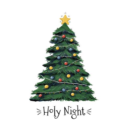 Holy Night Christmas Tree Vector