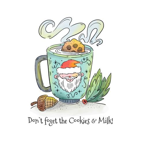 Cookies and Milk for Santa Vector