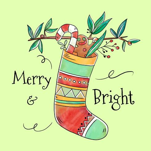 Merry and Bright Christmas Stocking Vector