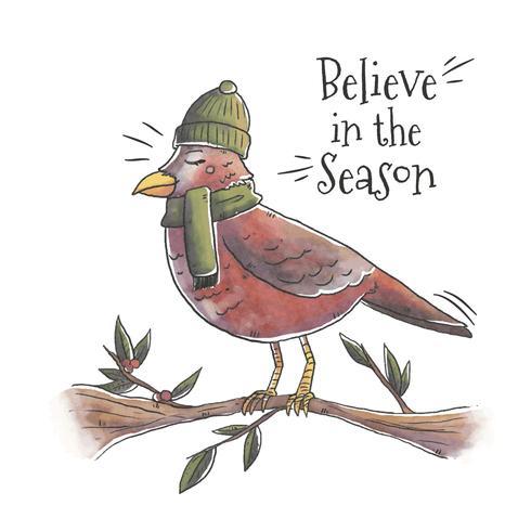 Julfågel över gren med julcitationstecken