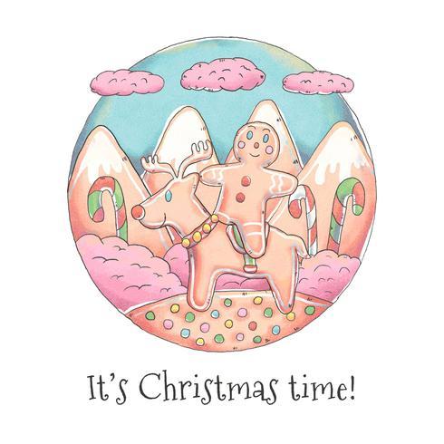 Söta Gingerbread Cookies för julvektor