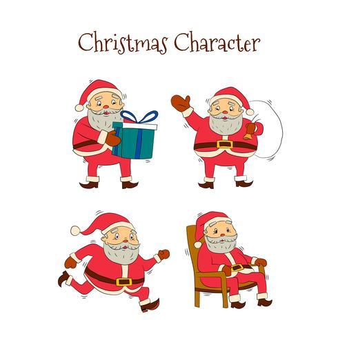Collection de personnages de Santa dessinés à la main