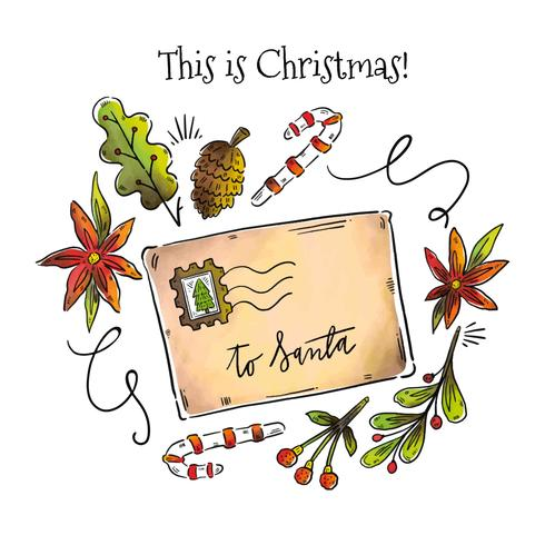 Christmas Letter To Santa With Christmas Leaves