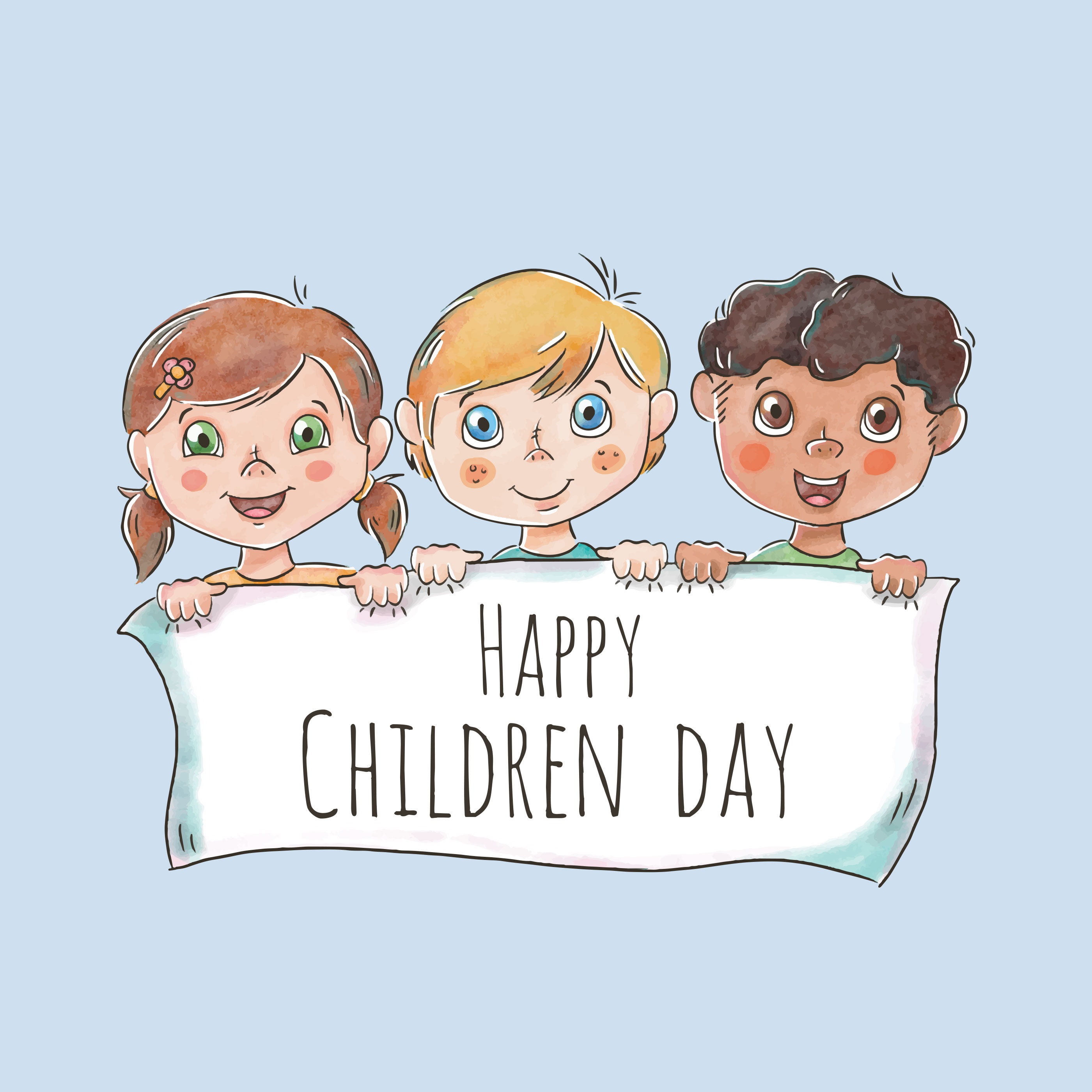 Cute children character holding white banner for children day download free vector art stock - Children s day images download ...