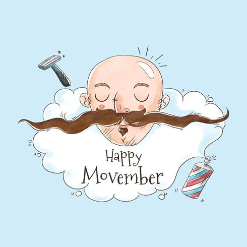 Cute Man Without Hair And Long Mustache for Movember Vector