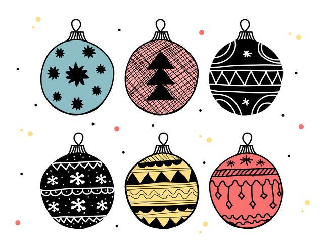 Doodle Christmas Balls Vector Set