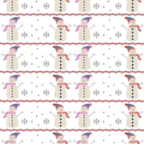 Patrón de Vector de muñeco de nieve