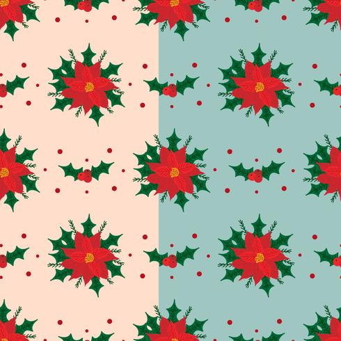 Red Poinsettia Vector Pattern