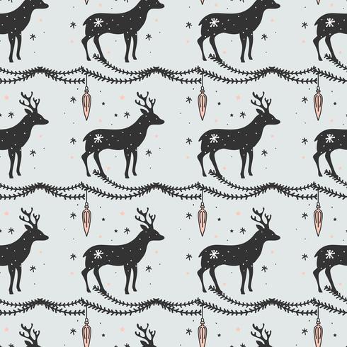 Deer Christmas Vector Pattern