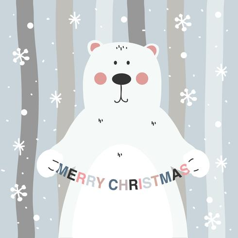 Christmas Bear Vector Background