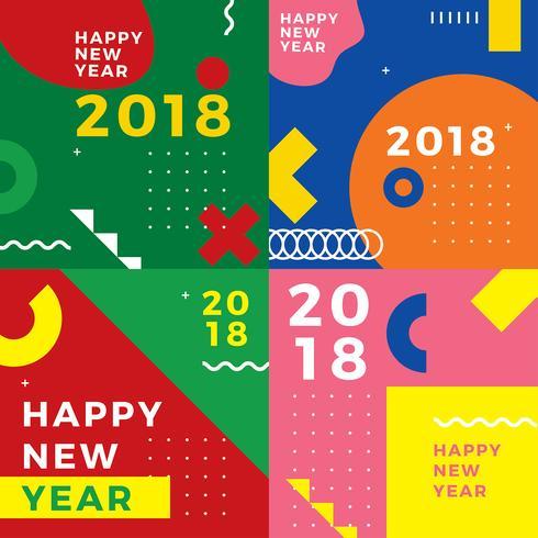 Geomteric platt nytt år gratis vektor