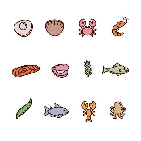 Collection de fruits de mer dessinés à la main