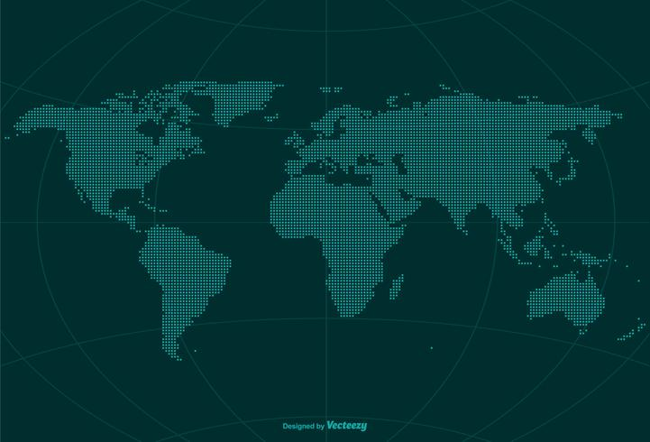 pixel world globe map vector