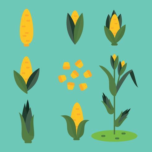 Superfärgade ikoner relaterade till majs