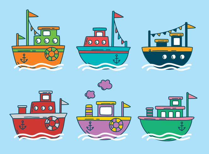 Colored Trawler Boat Vector