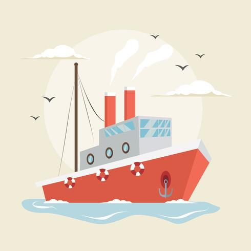 trawler ship illustration