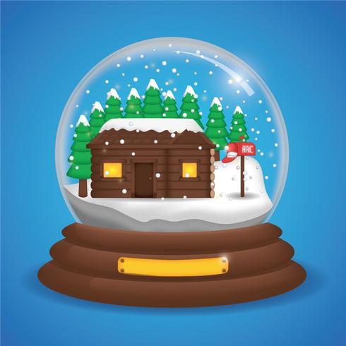 Vector de globo de nieve realista