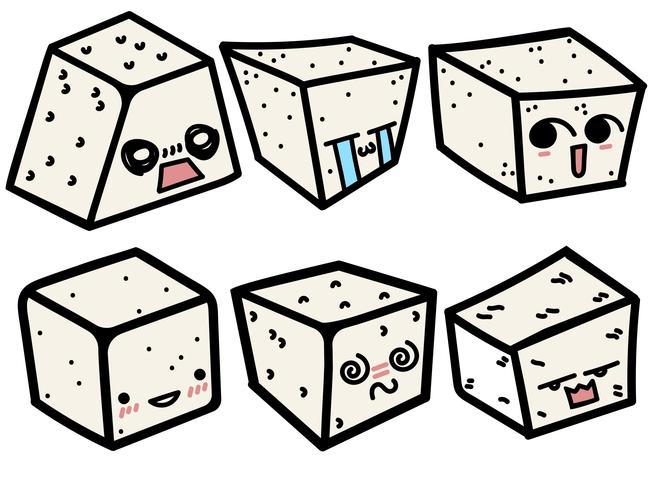 Vector Cartoon Style Tofu With Cute Faces Set