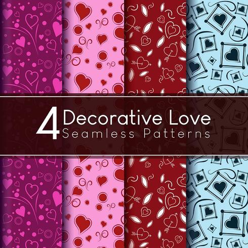 Fyra dekorativa kärlek sömlösa vektormönster