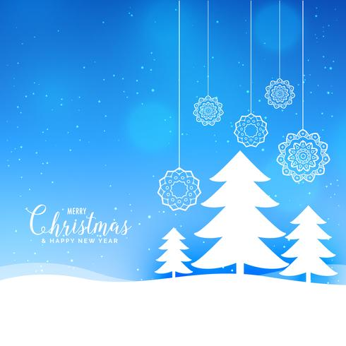 blue merry christmas landscape background with paper style tree