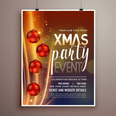 christmas holidays party flyer design template with light effect