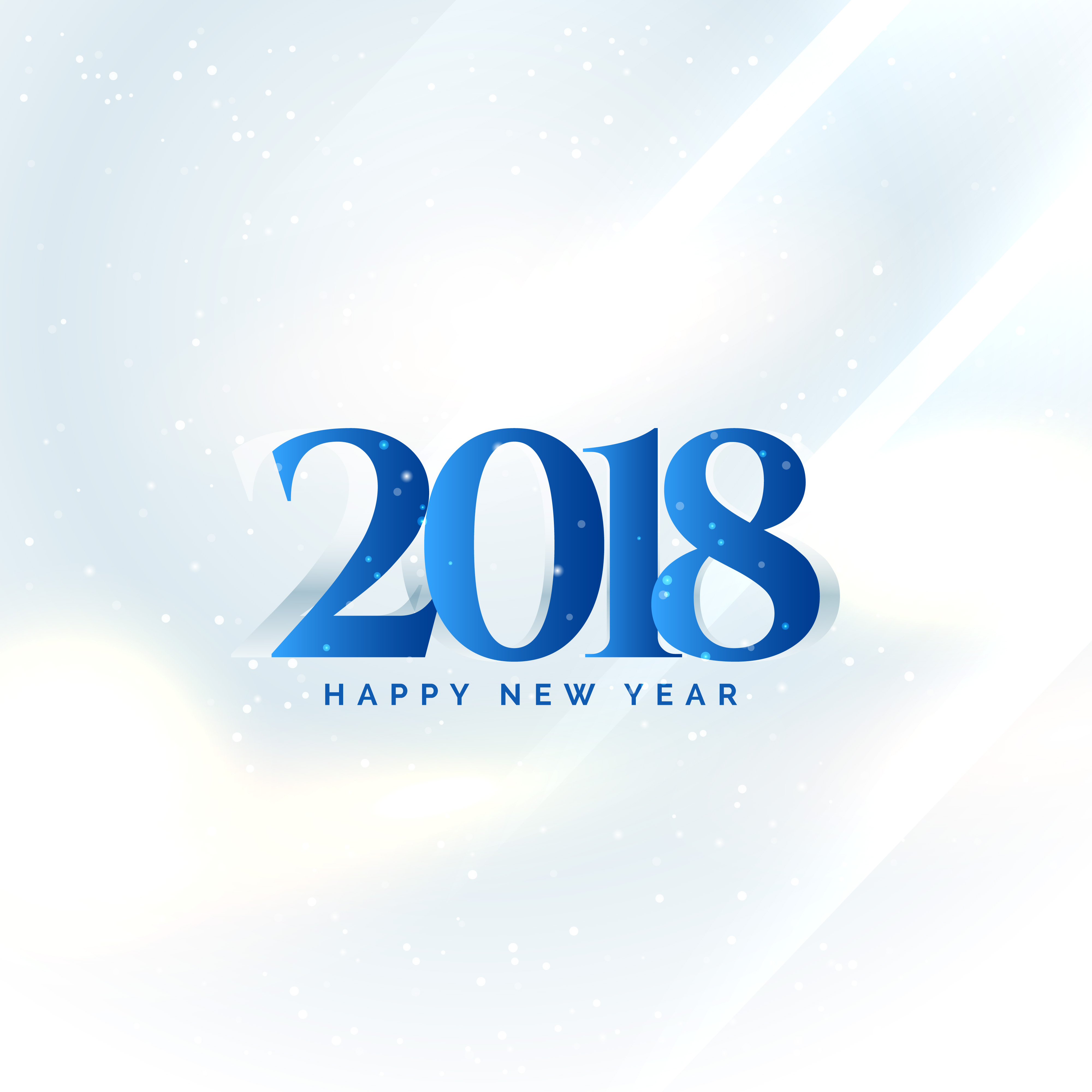 2019: Happy New Year 2018 Text On White Background Design