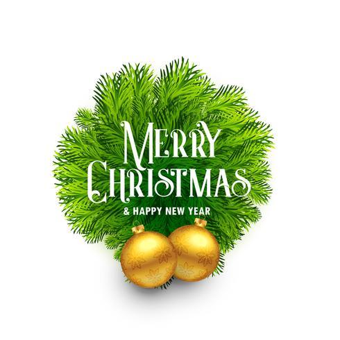 elegant fir leaves frame with balls for merry christmas festival