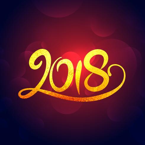 2018 new year golden swirl text effet design