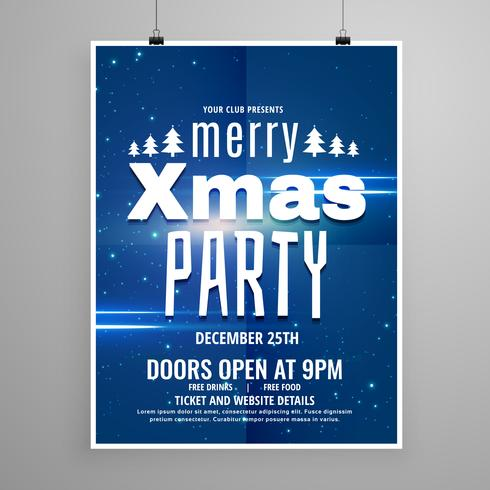 stylish blue merry christmas flyer design template with holiday