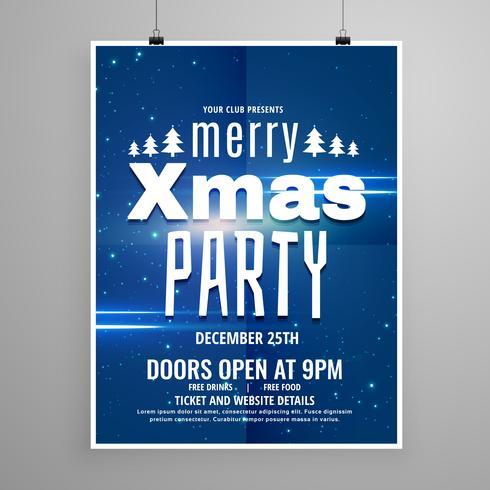 stilig blått glatt jul flygblad design mall med semester
