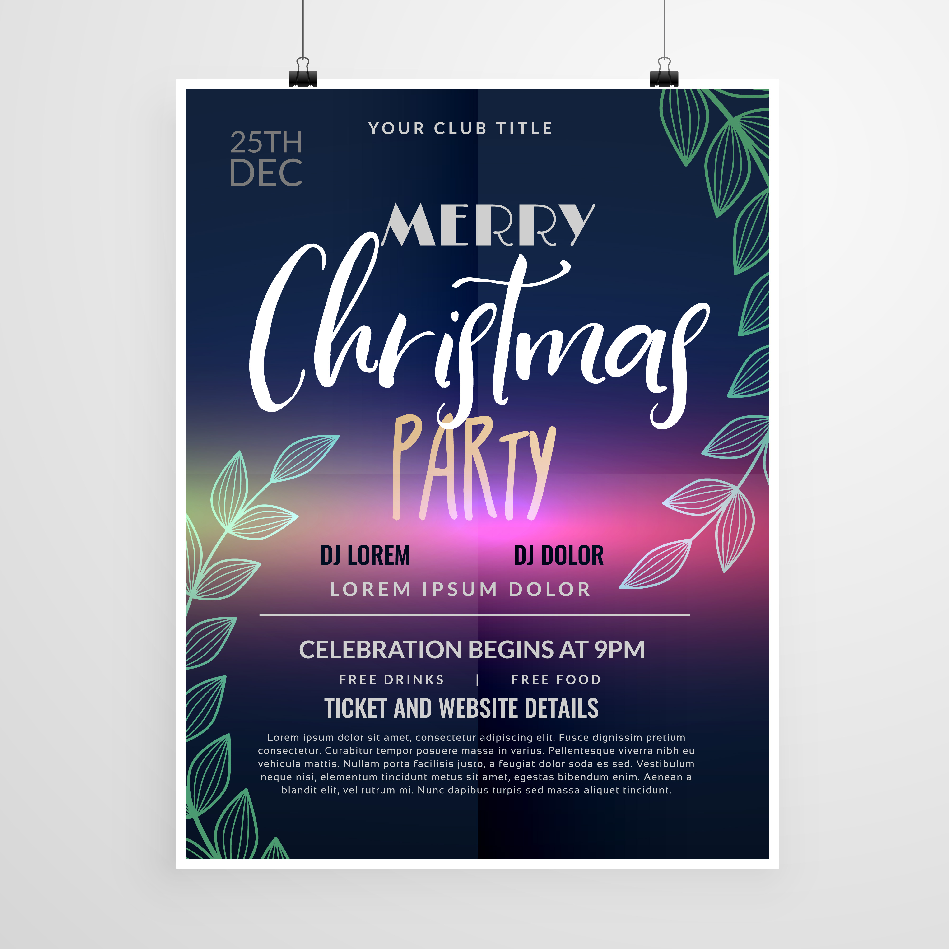 beautiful christmas party flyer design template