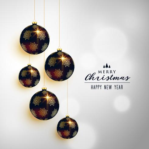 premium christmas hanging balls greeting card design