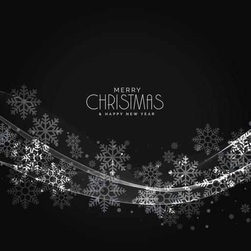 stylish dark christmas snowflakes background with wave effect