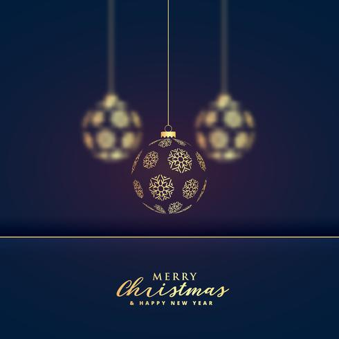 stylish hanging golden christmas balls premium background