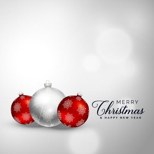 Fondo de bolas de decoración de feliz Navidad elegante