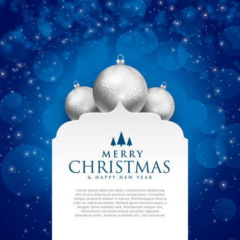 elegant blue merry christmas design with silver balls
