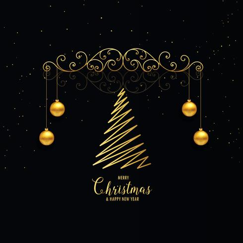 christmas decoration greeting in premium golden style