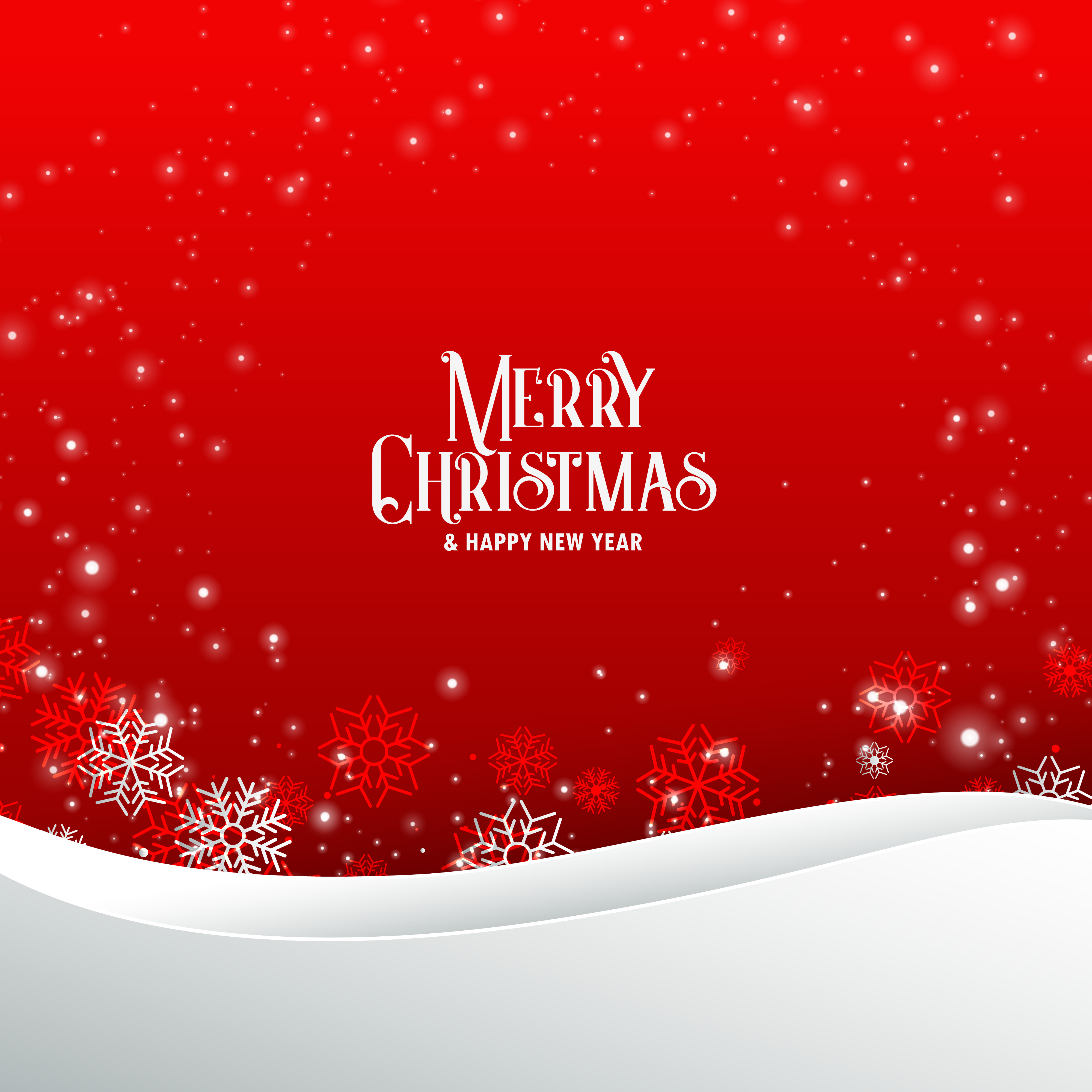 Elegant Red Merry Christmas Greeting Background With Snowflakes