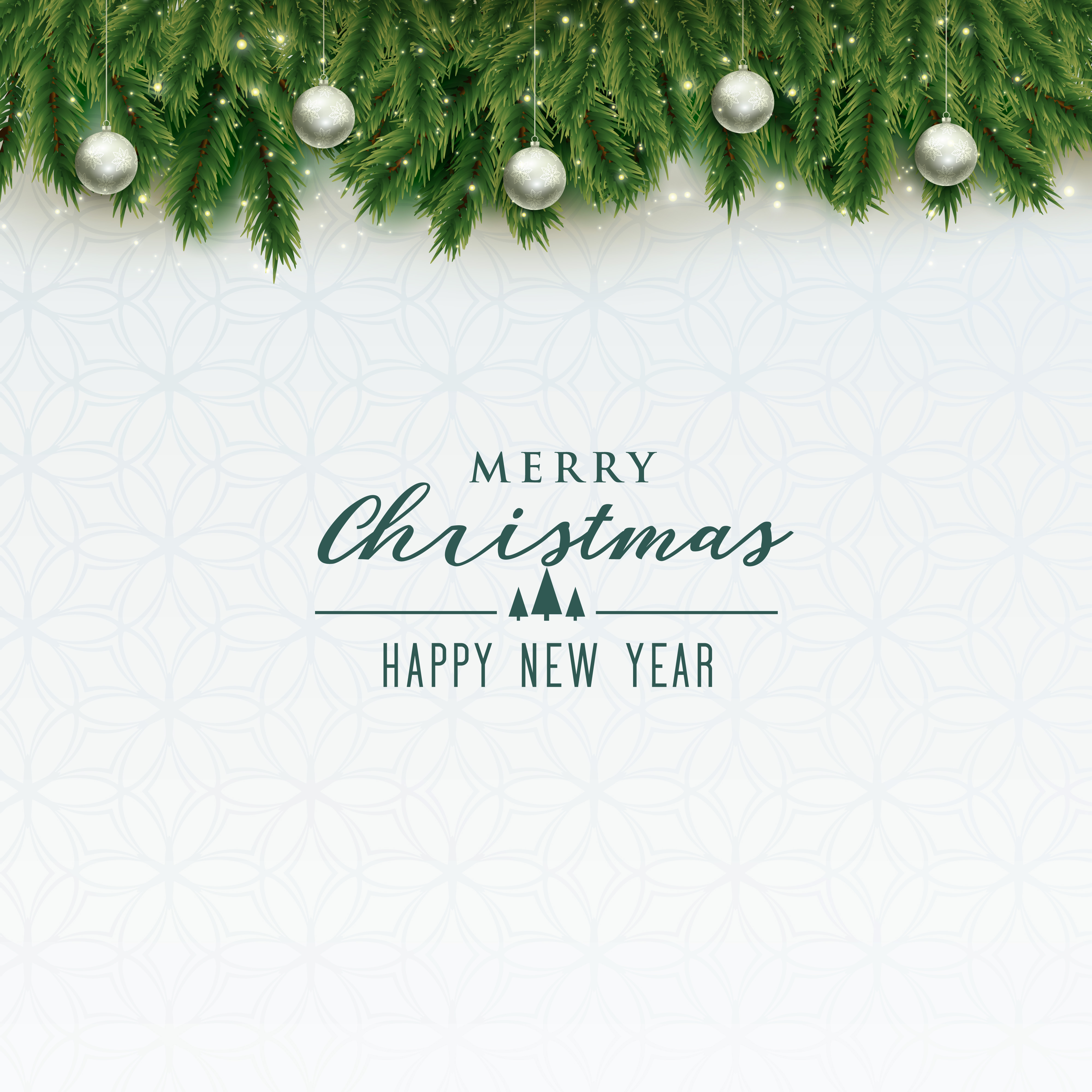 elegant merry christmas background with silver balls - Download Free ...