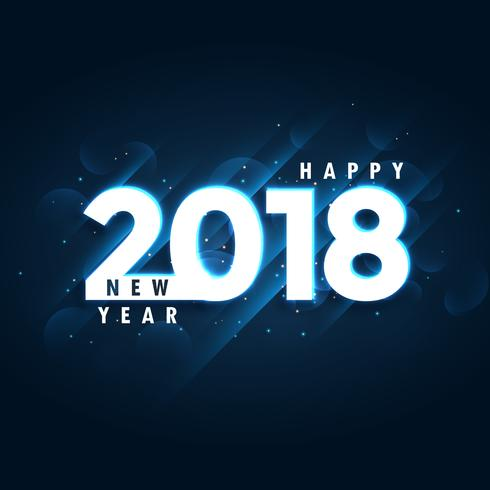 2018 happy new year blue background with glowing effect