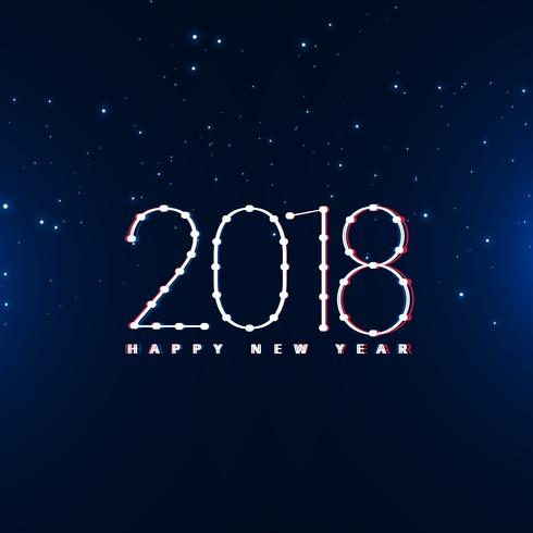 happy new year 2018 design in blue background