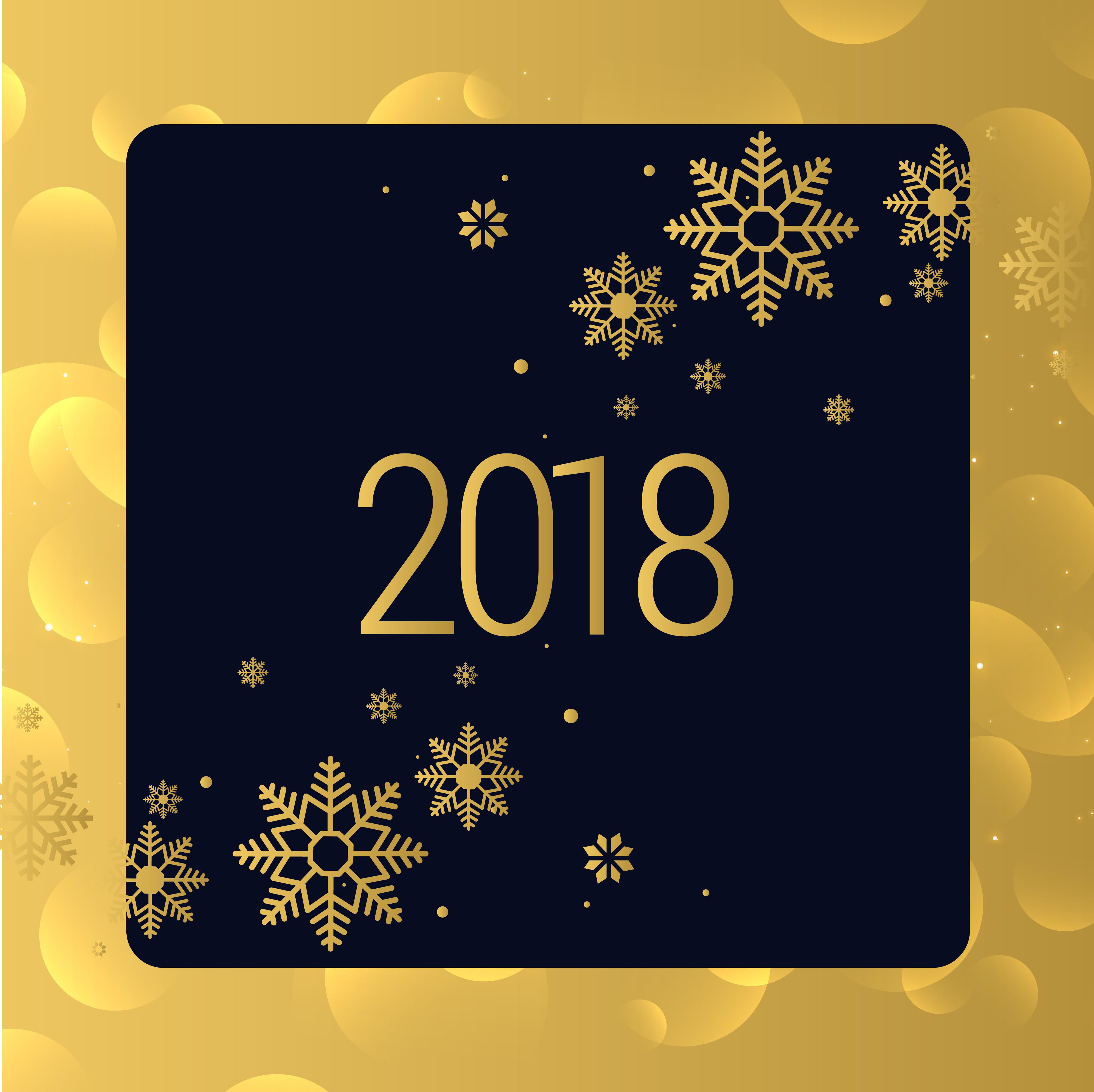 2018: Luxury Golden 2018 New Year Background Design