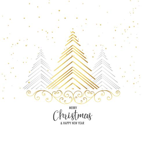 premium christmas tree design with floral decoration on white ba