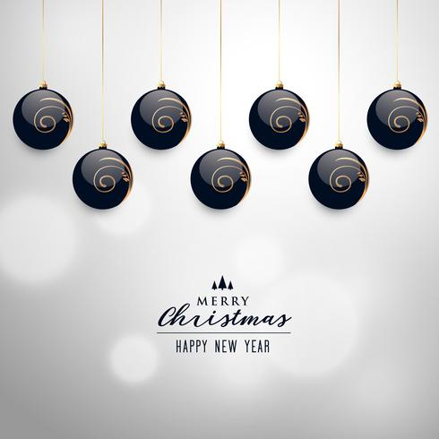 elegant hanging christmas balls vector background