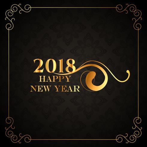 luxury style 2018 happy new year golden background design
