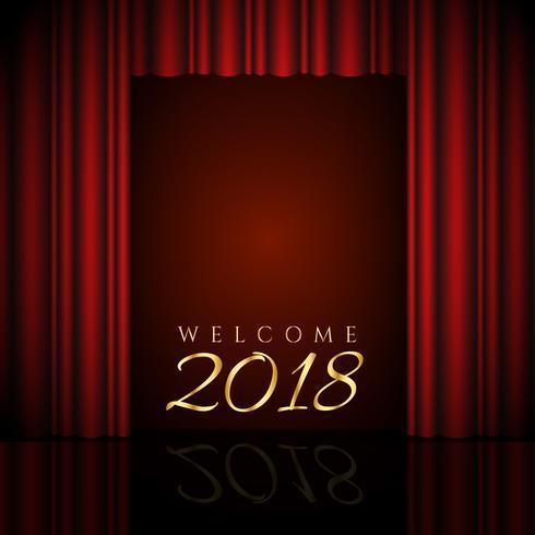 bienvenido diseño 2018 con cortinas rojas