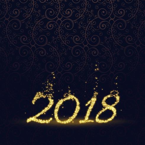 feliz año nuevo 2018 hecho con fondo de partículas de brillo