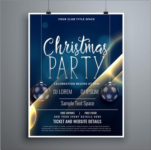 modelo de design de folheto de cartaz de festa de Natal com bolas de suspensão