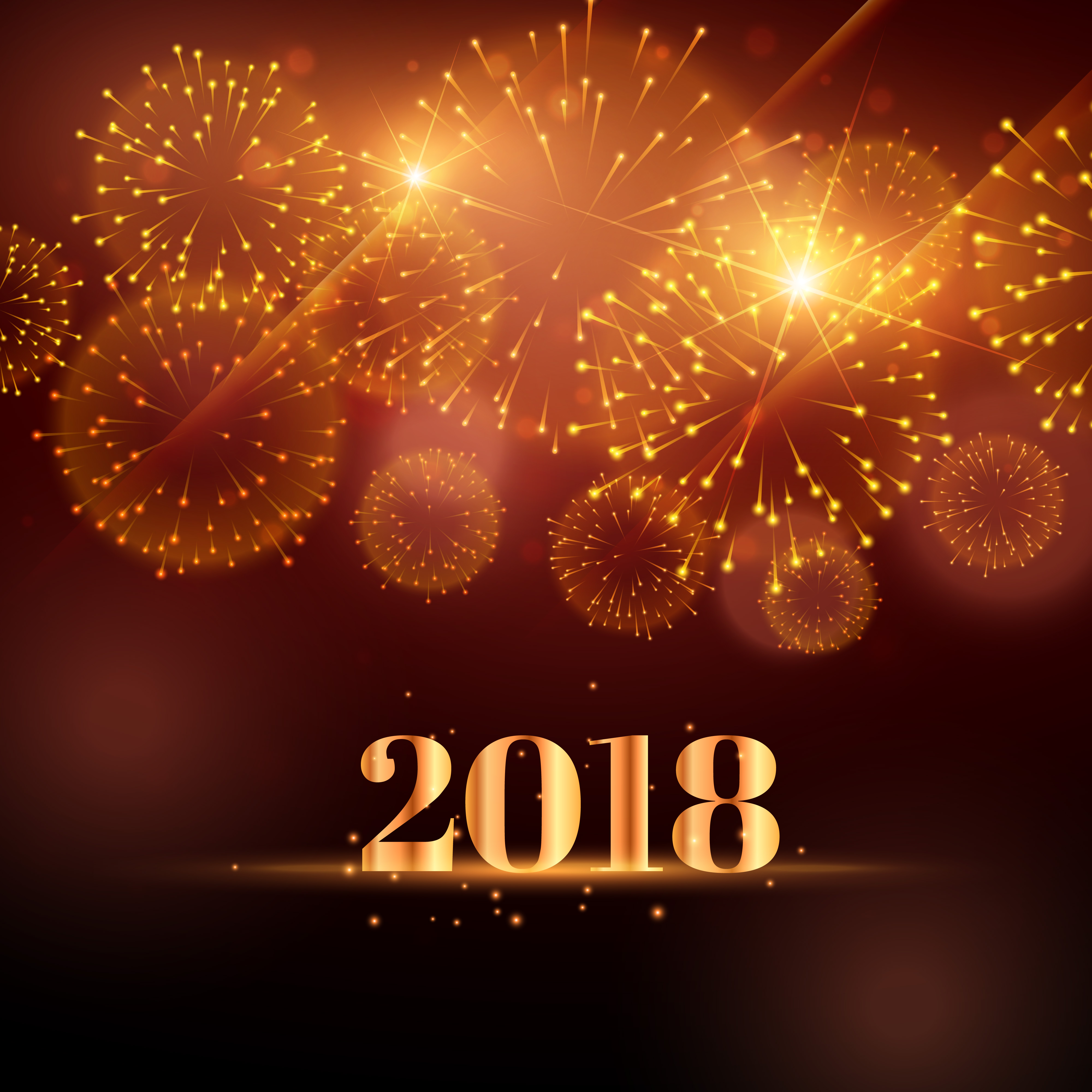 Happy New Year Fireworks Background For 2018