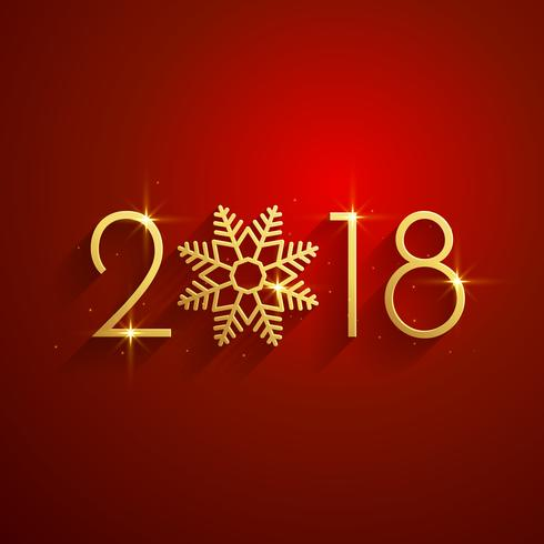 happy new year 2018 red golden background design